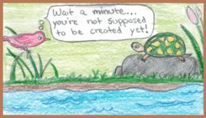 Day 5 of creation week.  Cartoon drawn by Eliza Haley, 2012