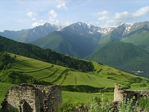 Mountain of Ingushetia showing ancient terracing (Russia, just north of Rep. of Georgia)