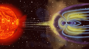 Artist's rendition of Earth's magnetosphere. The Aurorae show up where the blue lines come in toward the earth.