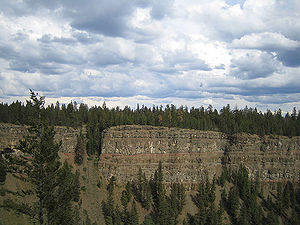 Chilcotin flood basalt cliffs in Canada