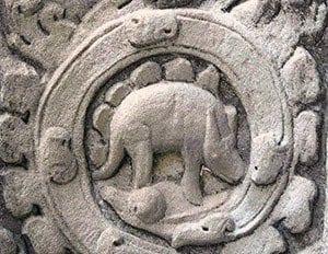 Cambodian Stegasaurus Temple Carving
