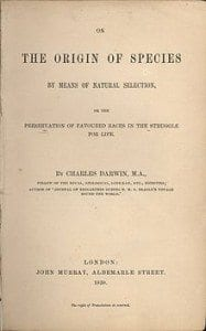 "Original Title Page of ""On the Origin of Species or The Preservation of Favored races in the Struggle for Life"""