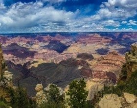 Grand Canyon with scattered cloud shadows