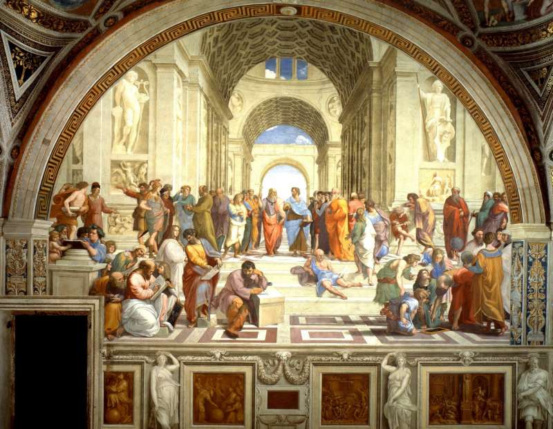 Sanzio Plato's painting of Aristotle and discipled