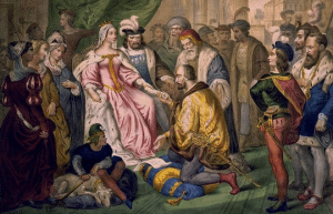 This painting depicts Christopher Columbus kneeling in front of Queen Isabella.