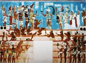 Mayan Mural, Bonampak Mexico, ruler Chaan Muan, Dimnopsaur head, etc.