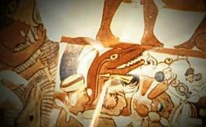Dinosaur head depiction enlargement, Mayan mural circa 600 A.D.
