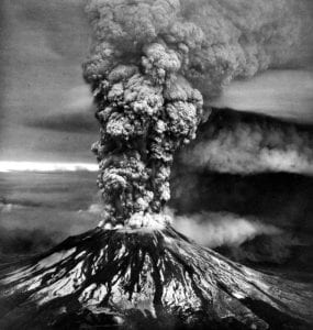 Mount St. Helens erupting with ash plume