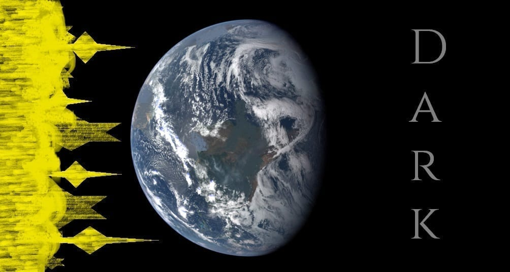 Illustration: light flowing to earth from the left, all dark on the right