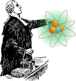 Clip art of a judge examining an atom