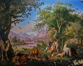 Adam and Eve in the Garden painting: Wenzell Peter 1800 - 1829