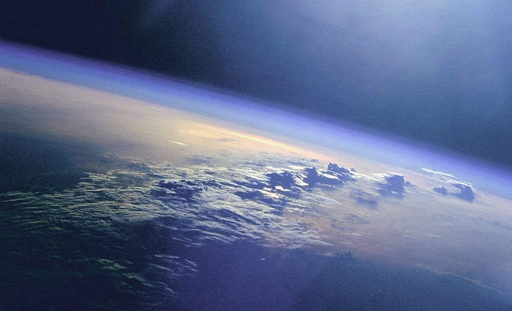earth's oceans and clouds as seen from the ISS