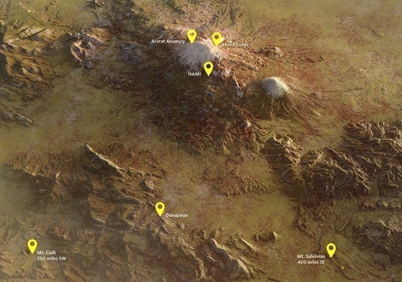 Map of Mount Ararat sites, photo credit: Answers in Genesis