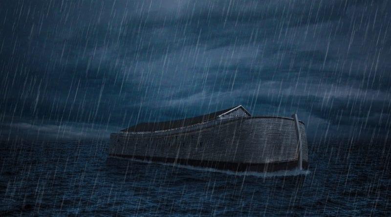 Painting of Noah's Ark on a calm sea with rain