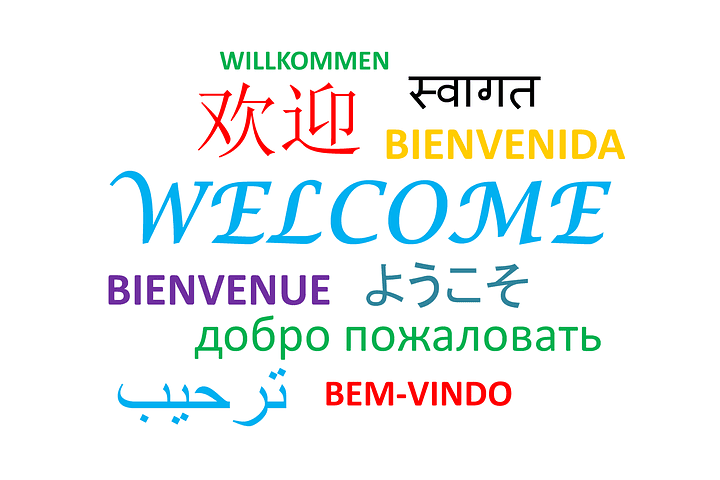 """Welcome"" written out in multiple languages"