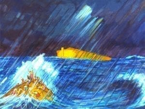 Painting of the Ark rising with people outside pleading: Image Credit: FreeBibleImages.org