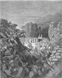 Engraving of Jericho's walls falling