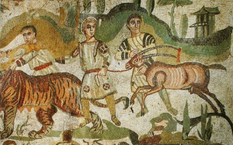 Villa Romana del Casale Hunt Mosaic with Tigers and African Antelope
