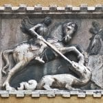 St George and the Dragon, Venice, stone carving: ID 44297622 © Andrea Mangoni | Dreamstime.com