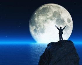 3D render of a man with hands upraised with the moon and water: ID 78449570 © Orlando Florin Rosu | Dreamstime.com
