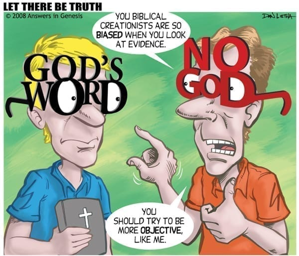 Everyone's wearing goggles, either God's Word, or No God, cartoon by Dan Lietha