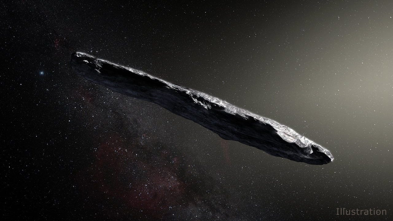 Oumuamua artist's impression (like a long, slender prune): photo credit, NASA