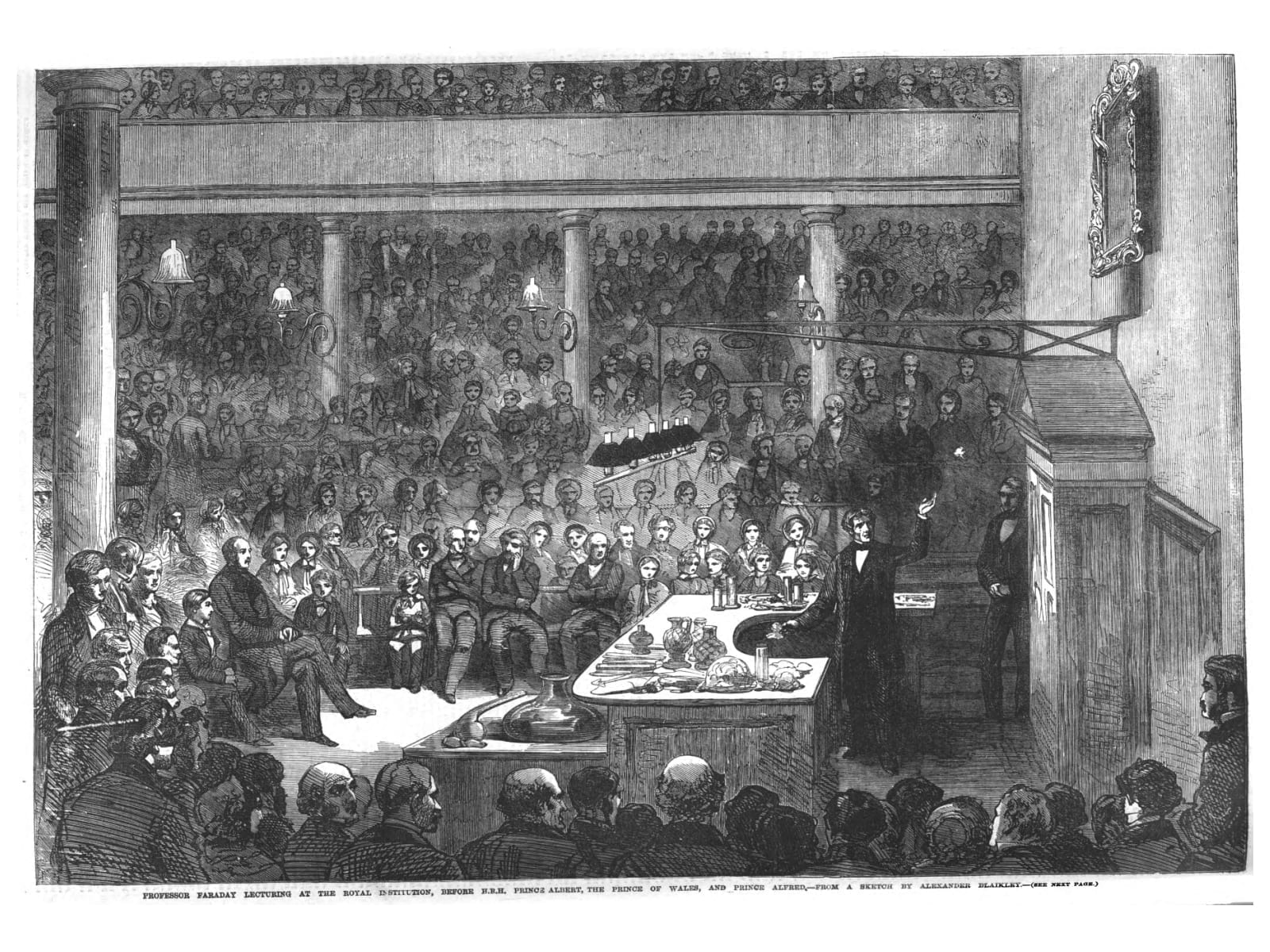 Engraving of Faraday giving a lecture at the Royal Institute in 1856