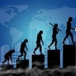 Graphic portraying human evolution upward against a city and map backdrop: ID 101247289 © Matej Ograjenšek | Dreamstime.com