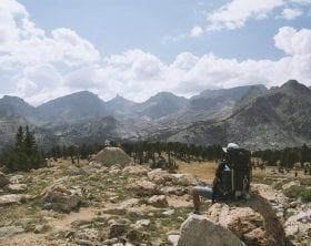mountains, desert, blue sky, with hiker