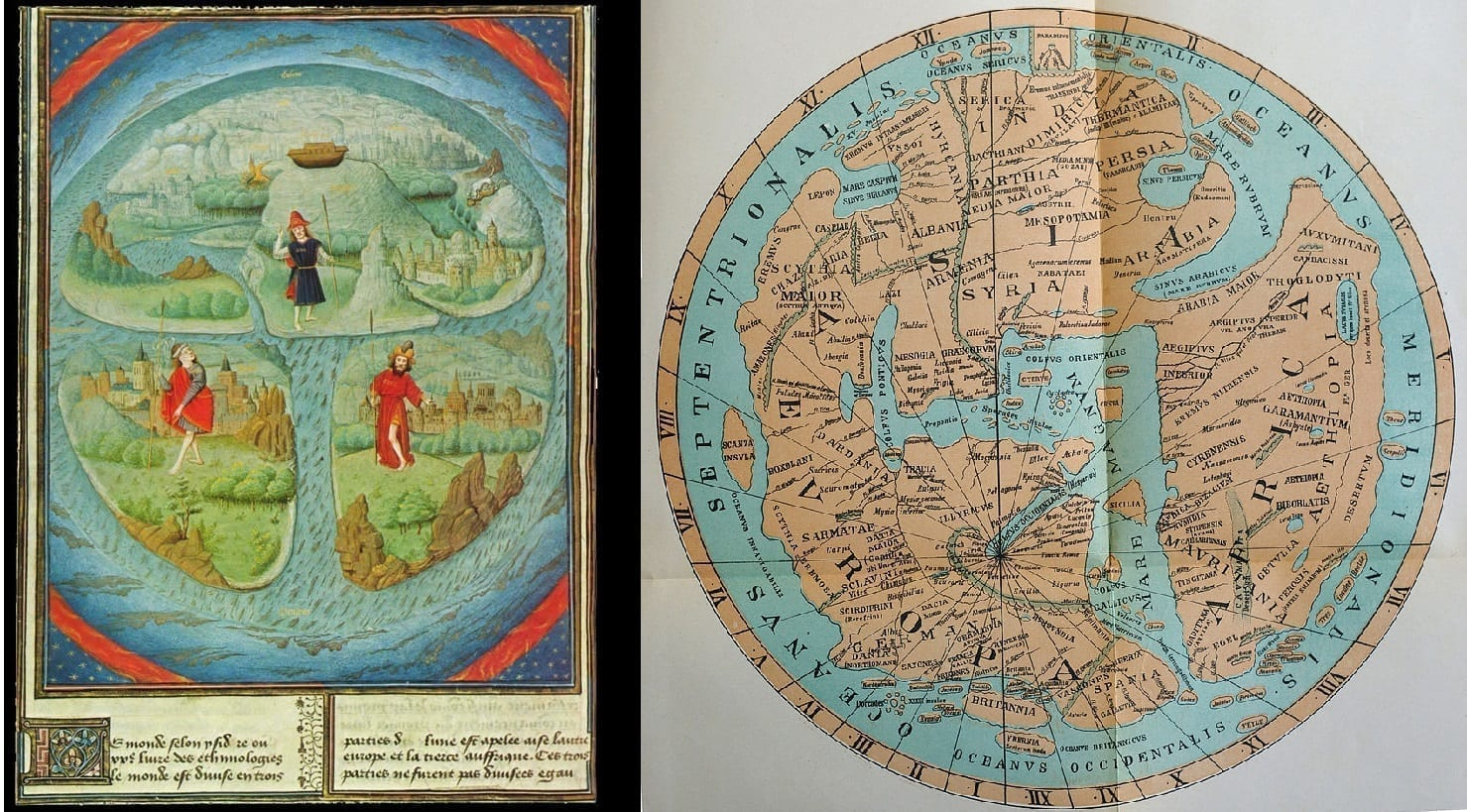 Two medieval Mappa Mundi depictions