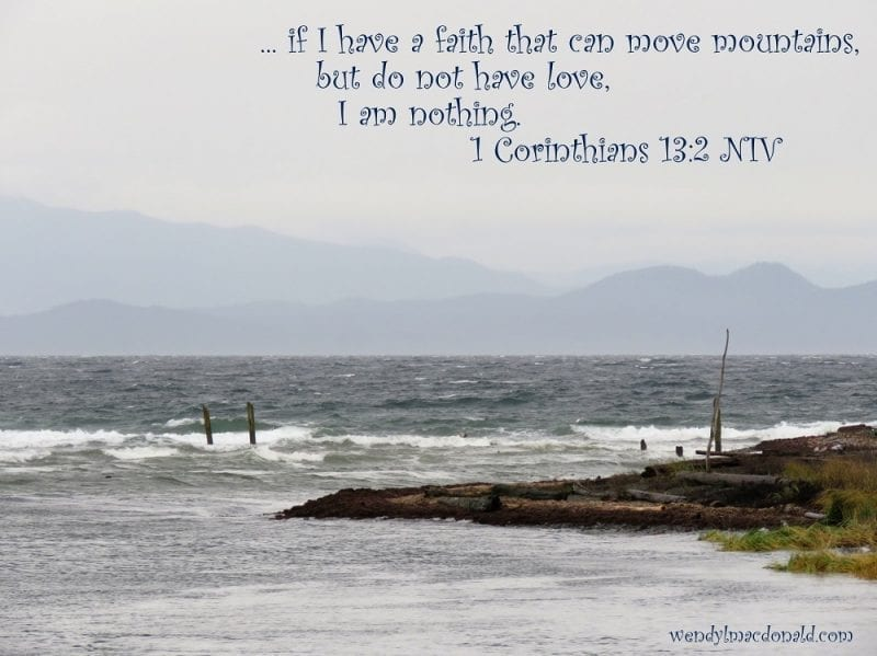1 Corinthians 13:2 with a cover and misty mountains, photo credit: Wendy MacDonald