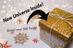 "Meme of wrapped present marked ""New Universe Inside!"""