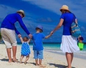 Family in blue clothes walking on a beach: ID 43596644 © Nadezhda1906 | Dreamstime.com