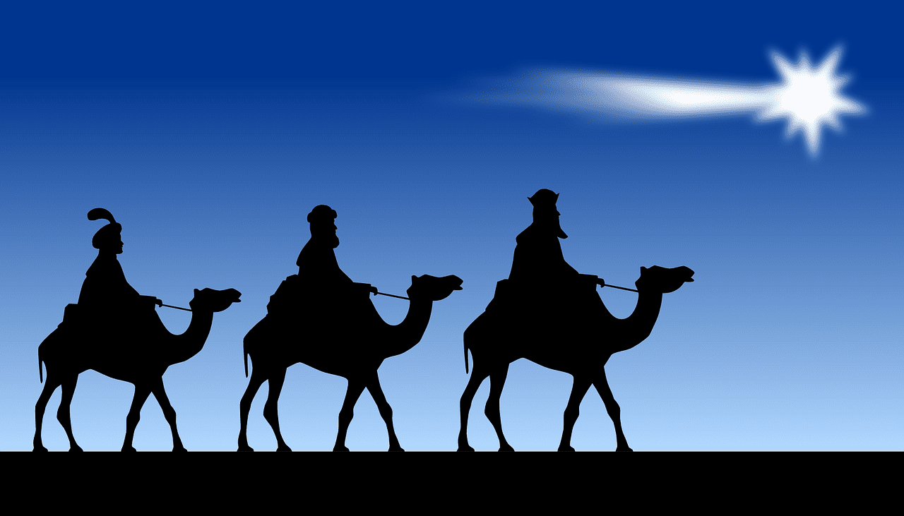 Wise Men silhouettes with comet-like star