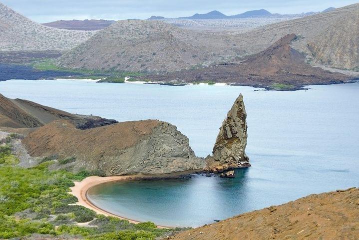 Galapagos island coastline from above