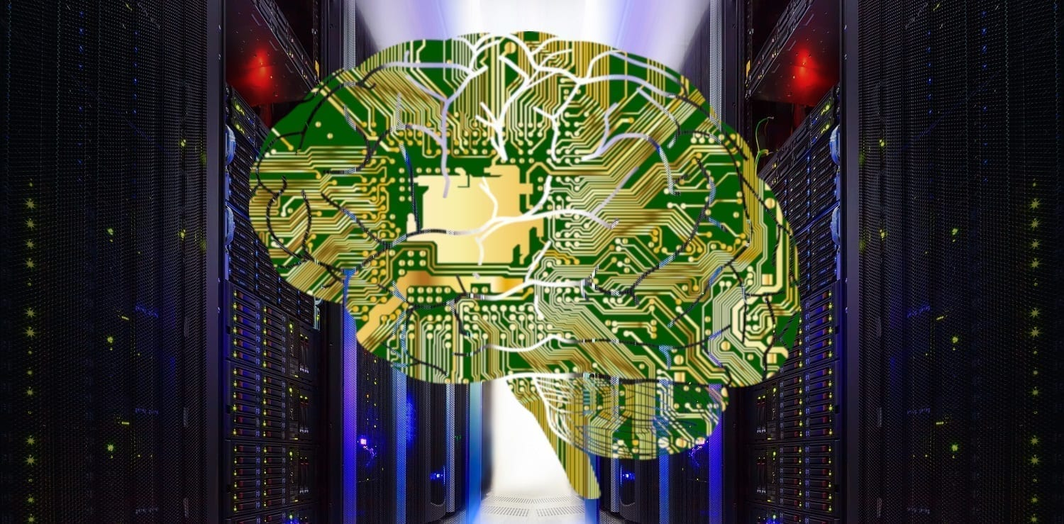 Supercomputer with brain-as-motherboard overlay, Supercomputer double bank of machines: ID 76252718 © Vladimir Timofeev | Dreamstime.com