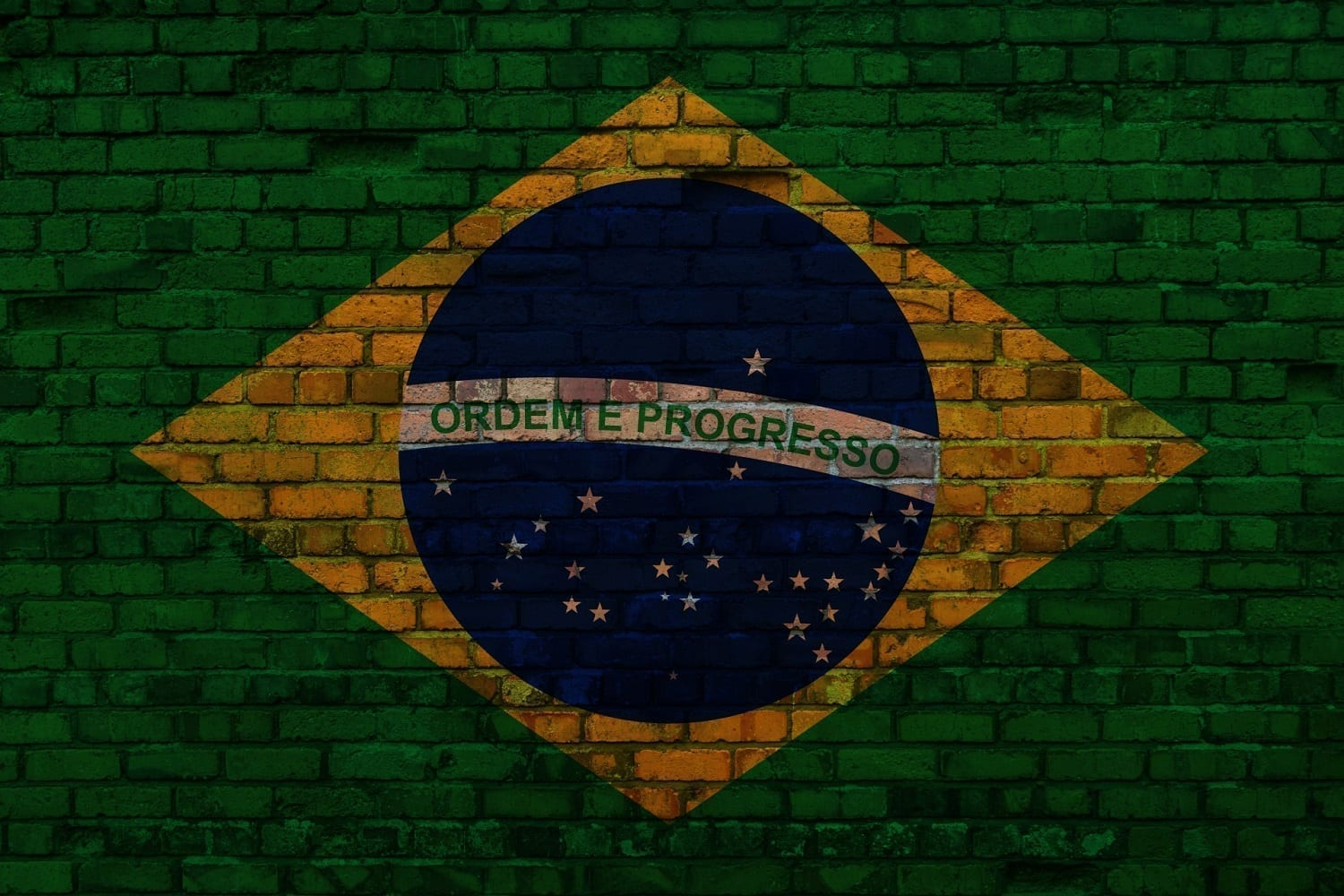 Flag of Brazil painted on a brick wall, photo credit: George Hodan