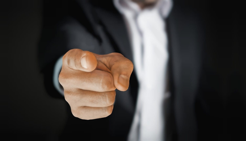 Man's hand pointing at viewer, photo credit: pixabay