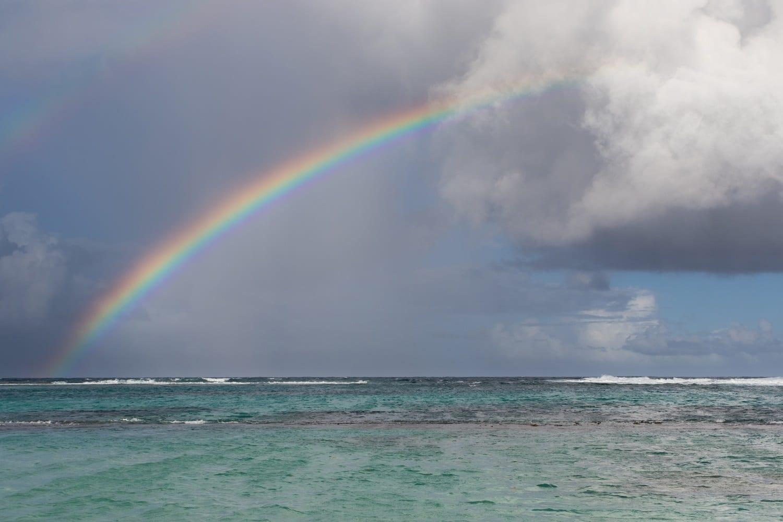 Rainbow with dark clouds over the ocean: ID 113478365 © Hopsalka | Dreamstime.com