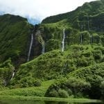 Flores Island rainforest with waterfalls