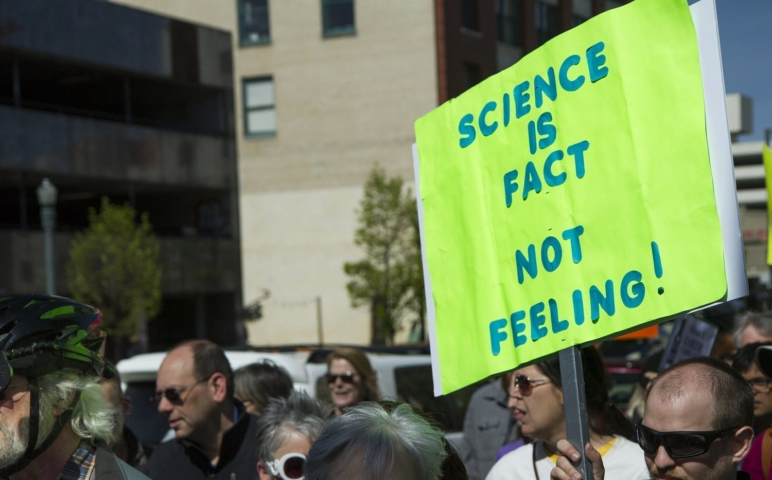 "Man protesting that ""Science is Fact not Feeling"": ID 96219552 © Tracy King 