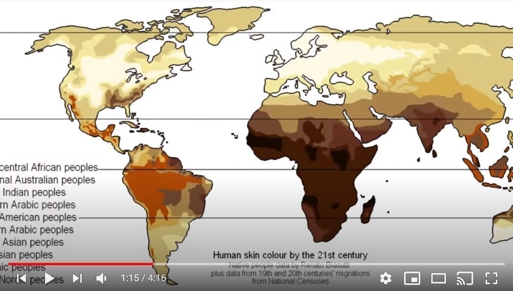 Human skin tone distribution map, Genesis Apologetics YouTube still
