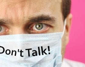 "Masked scientist with ""Don't Talk"": ID 175366208 © Denis Trofimov 