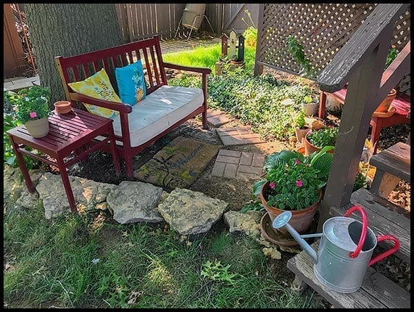 Garden with bench, photo credit: Pat Mingarelli