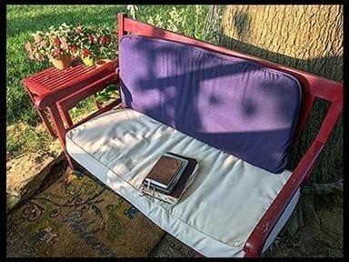 Garden Bench with books, photo credit: Pat Mingarelli