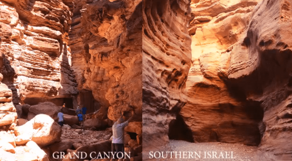 Red sandstone canyon walls nearly the same between Grand Canyon and southern Israel