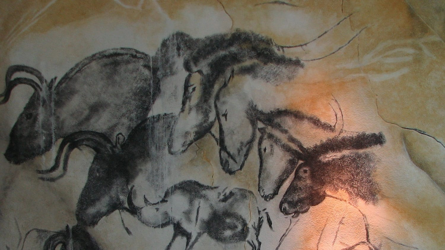"Replica of the ""Horse Panel"" painting in the Chauvet Cave, France"