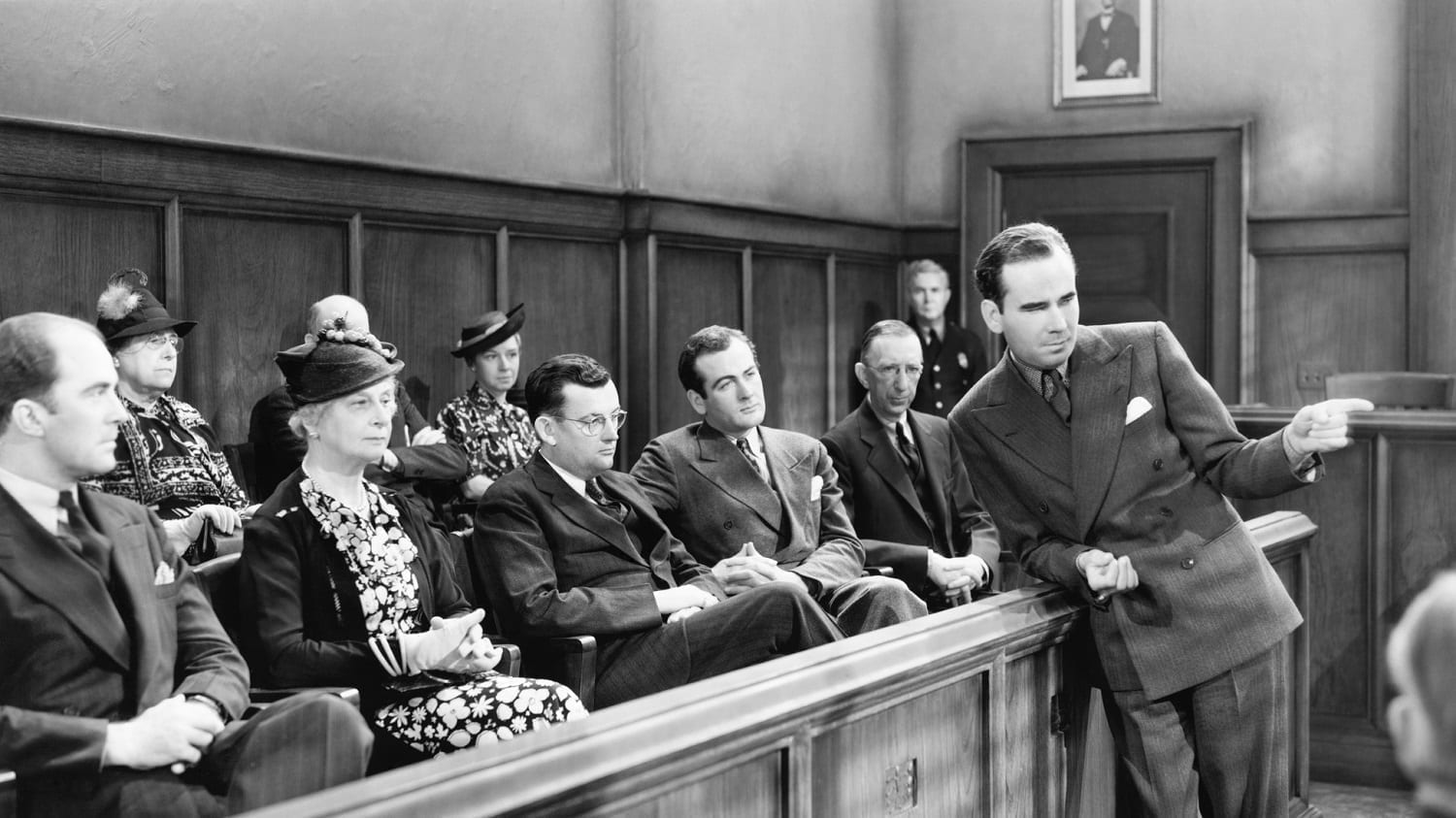 Jury listening to a lawyer's presentation, circa 1940s: Photo 52026511 © Everett Collection Inc. | Dreamstime.com