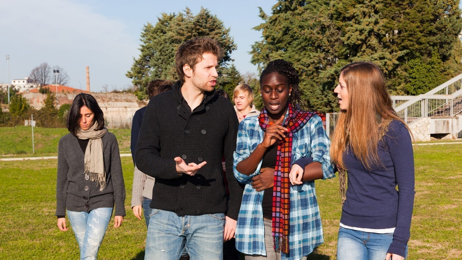 Lively outdoor discussion amoung young people: Photo 17823673 © William87 | Dreamstime.com