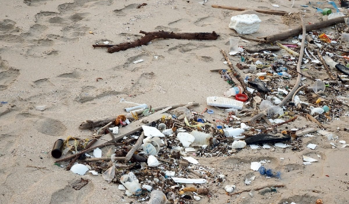 Sandy beach littered with polystyrene trash, photo credit: Ian L.